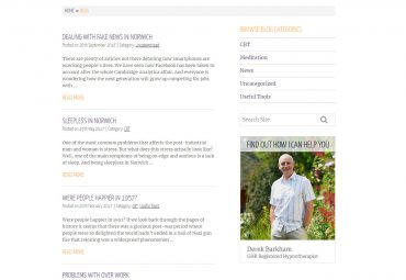 Picture of Derek Barkham Hypnotherapy website blog