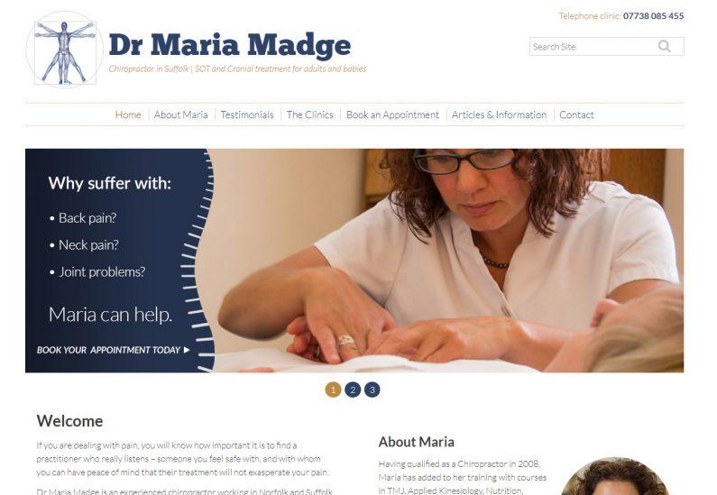 PIcture of Dr Maria Madge website home page