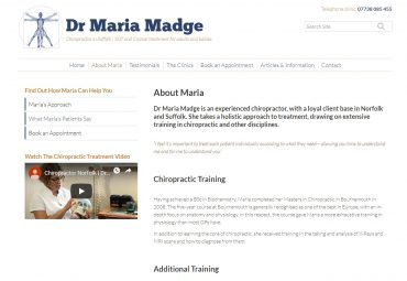 Picture of Dr Maria Madge website page