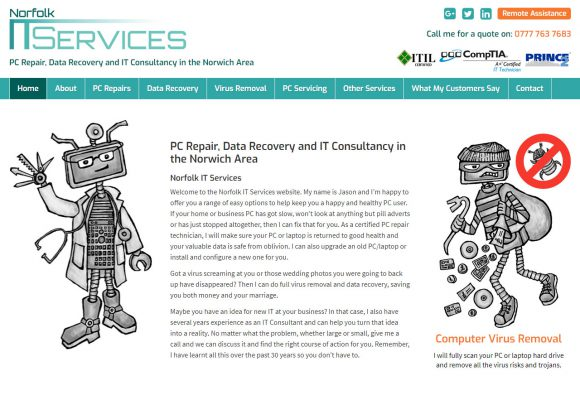 Picture of Norfolk IT services home page