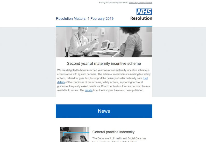 Picture of NHS Resolution Matters email